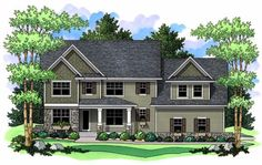 Love how the 'hers' closet is bigger than 'his'. Elevation of Craftsman   Traditional   House Plan 42516