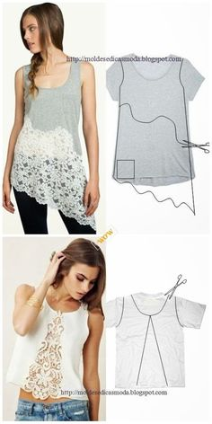 Chic T-shirt Refashion Ideas with DIY Tutorials-DIY Lace Front/Bottom T-shirt Re. - Chic T-shirt Refashion Ideas with DIY Tutorials-DIY Lace Front/Bottom T-shirt Refashion Tutorial Source by nkgsipwy - T-shirt Refashion, Diy Clothes Refashion, Diy Clothes Tutorial, How To Refashion A Tshirt, Sweater Refashion, Diy Upcycled Art, Upcycled Furniture, Furniture Ideas, Diy Clothing Upcycle