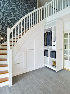 Hall - Brubakken Home AS Room Under Stairs, Stairs In Living Room, Under Stairs Cupboard, House Stairs, Home Stairs Design, Home Room Design, Dream Home Design, Home Interior Design, House Design
