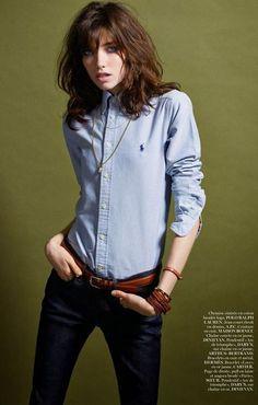 Vogue Paris December 2014 | Grace Hartzel by Mario Sorrenti. Love the shirt. It's a flash in my past.