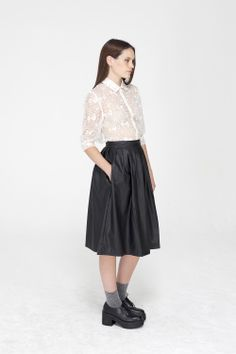 Leather Midi Skirt - http://www.thewhitepepper.com/collections/bottoms/products/pu-leather-midi-skirt