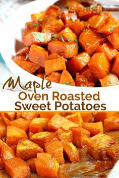 Oven Roasted Sweet Potatoes are coated in a tasty maple syrup mixture and roasted until tender, caramelized and slightly golden. These delicious roasted sweet potatoes are easy to make and always a favorite! #sidedish #holidays #baked #glutenfree #Thanksgiving #recipe #maplesyrup