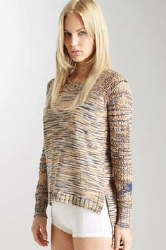 Verdela L/S Raglan Openwork Pullover - This raglan pullover has an exaggerated high/low hem and lace knit sleeves.  Knitted with space dye yarn this crewneck will elevate any look.