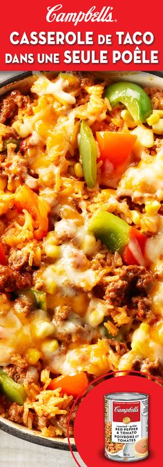 One Pan Taco Skillet lb g) lean ground beef 1 red pepper, 1 green pepper, cut into chunks 1 can CAMPBELL'S® Condensed Roasted Red Pepper & Tomato Soup 1 cups mL) water 1 tbsp mL) chili powder 2 tsp mL) onion powder 1 cups mL) white rice 1 … Mexican Food Recipes, Meat Recipes, Cooking Recipes, Healthy Recipes, Campbells Soup Recipes, Tomato Soup Recipes, Skillet Meals, Skillet Recipes, Skillet Pan