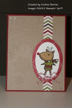 Christmas reindeer--Stamps: Color Me Christmas Paper: Whisper White, Crumb Cake, Cherry Cobbler cardstock; Season of Style DSP; red glimmer paper Ink: Jet Black StazOn, Baked Brown Sugar, Chocolate Chip, Crumb Cake, Cherry Cobbler, Old Olive Accessories: Northern Flurry embossing folder, Ovals Collection Framelits dies, Cupcake Builder punch, Cherry Cobbler baker's twine, rhinestones, Glue Dots, Dimensionals,Cupcake Builder punch and red glimmer paper to make the reindeer's shiny nose