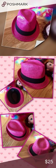 Pink Fedora 30% off bundles Fashion and style doesn't wait that's why this hot pink fedora is perfect for your little trendsetter. Hot Pink straw fedora with a black band. Casual or dressy let the fun begin! Hat sizing kids 50 CM age 2-4 HP Best in Boutiques Accessories Hats