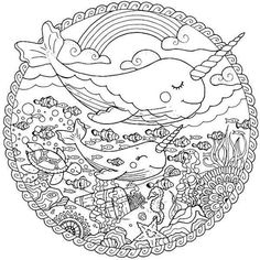 Free Download Narwhal Unicorn Coloring Book Page