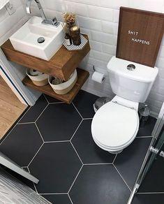Bathroom Decor above toilet Diese Bodenfliesen sin - bathroomdecor Diy Bathroom, Tiny House Bathroom, White Bathroom, Bathroom Flooring, Bathroom Interior, Bathroom Small, Bathroom Ideas, Bathroom Shelves, Vanity Bathroom