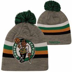 d39432ec Mitchell & Ness Boston Celtics Boost Cuffed Pom Knit Current Hat - Ash