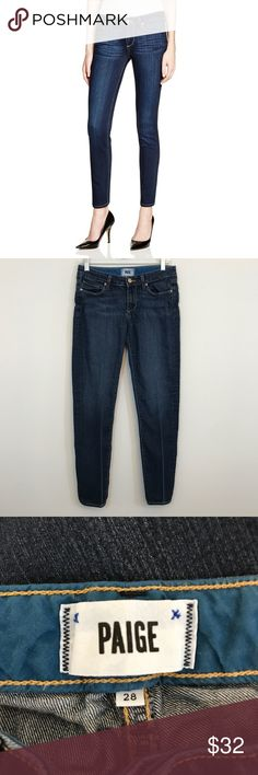 Paige Skyline Skinny Jeans Size 28 Paige skyline skinny jeans size 28. Waist is 15 across laying flat, rise is 7.5, inseam is 29.5, and leg opening is 12 around. These do have puckering at the waist as well as line wear on the legs. Otherwise good condition elsewhere. Open to offers and 30% off bundles! *I14 PAIGE Jeans Skinny
