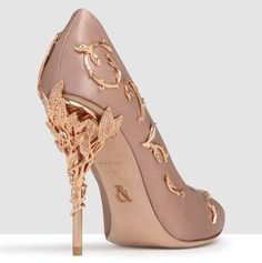 a3d6b4453a Ralph and Russo Vintage pink satin with swarowski and rose gold leaves Pink  And Gold Dress