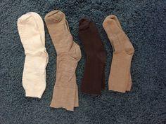 4 Pair Ankle Socks Ladies S Solid 2 Tan 1 Brown 1 White #Unbranded #AnkleHigh