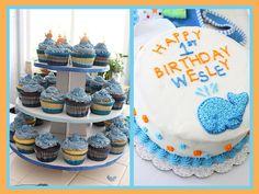 whale theme birthday party cupcakes