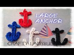 Rainbow Loom Large ANCHOR CHARM **Revised.** Designed and loomed by Crafty Ladybug. Click photo for YouTube tutorial. 07/01/14.