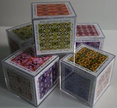 poems on cubes with patterns or zentangles