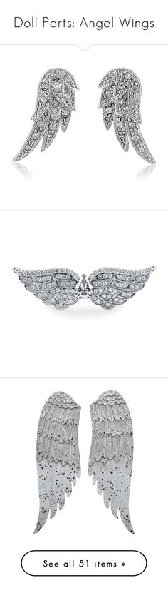 """""""Doll Parts: Angel Wings"""" by itsablingthing ❤ liked on Polyvore featuring jewelry, earrings, wings, accessories, stud earrings, women's accessories, angel wing earrings, art deco stud earrings, rhinestone stud earrings and angel wing jewelry"""
