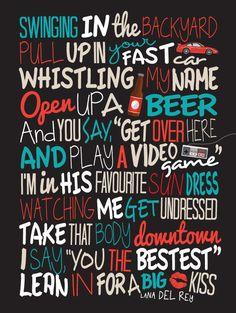 Lana Del Rey - Video Games / Song Lyric Typography Poster