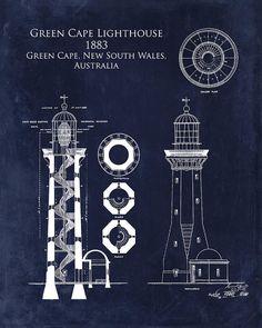 Green Cape Lighthouse Blueprint Art Print By Sara H
