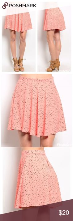 🌷Charlotte Russe skirt 🌷 Fun, flirty, salmon colored skirt with small black polka dots. Side zipper and lining. 100% polyester. Flowy and comfortable, great for spring and summer 🌺🌻 Charlotte Russe Skirts Mini