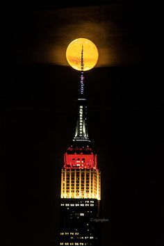 NYC Moonstruck for the 2014 World Cup - Empire State Building in lights colored in honor of the German flag after Germany wins the World Cup