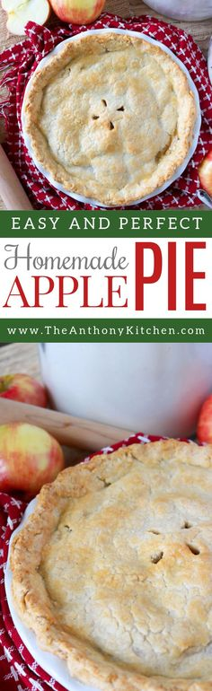 Easy Homemade Apple Pie Recipe | How to make an easy homemade apple pie, and bake it to perfection. The apple pie filling is simple, requires only a few ingredients, and yields the perfect homemade apple pie | #applepiefilling #easyapplepie #potluckdesserts #pierecipes #dessertforacrowd