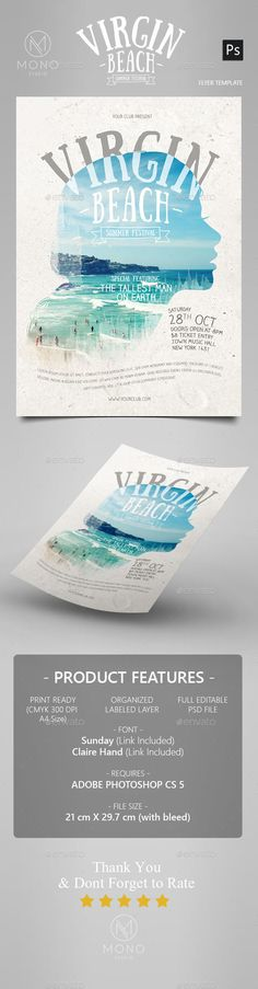 Summer Beach Poster / Flyer  #water • Click here to download ! http://graphicriver.net/item/summer-beach-poster-flyer/16206044?ref=pxcr