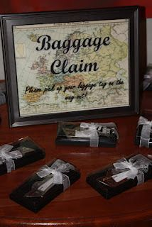travel themed bridal shower, baggage claim (favour table)!