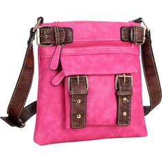 Dasein Soft Faux Leather Crossbody - Fuchsia - Crossbody Bags ($26) ❤ liked on Polyvore featuring bags, handbags, shoulder bags, pink, shoulder strap handbags, crocodile handbags, vegan handbags, dasein handbags and pink purse