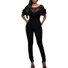 e9098848bd8f Black Mesh Insert Double Ruffle Jumpsuit