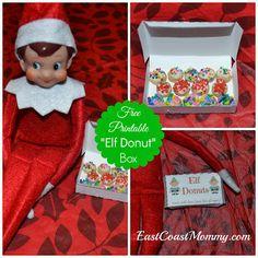 Elf on the Shelf Donuts... free printable box - East  Coast  Mommy