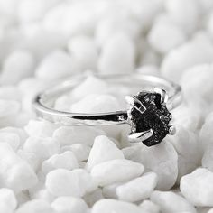Uncut Diamond Ring Black Rough Sterling Silver by gregoryghall