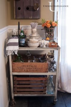 Industrial Cart turned Serving Cart via Unexpected Elegance of