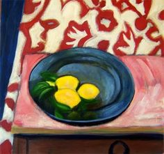Matisse Lemons still life blue plate table wallpaper red yellow green navy