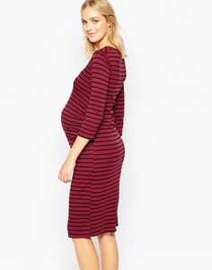 Image 2 of Bluebelle Maternity Striped Long Sleeve Bodycon Midi Dress