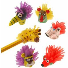 """US Toy - Wild Animal Pencil Toppers,1 1/2""""T (12 Assorted Pack) US Toy"""