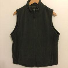 Lands' End - Women's Large Petite Army Green Jersey Lined Fleece Vest #LandsEnd #Vest