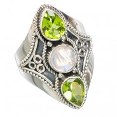 925 SOLID SETRLING FINE SILVER Rainbow Moonstone Rings