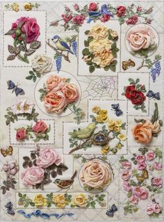 """The Roses"" Silk Ribbon Embroidery by Di van Niekerk, South Africa, Cape-Town"