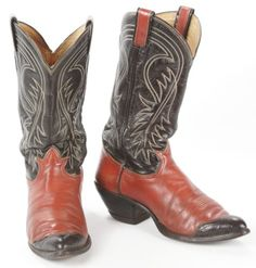 f9bf7a33634 Vintage Tony Lama Red Black Teju Lizard Wing Tip Leather Cowboy Boots Mens 8  E Rode