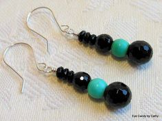 Turquoise and black earrings, sterling silver earrings, turquoise magnesite, genuine onyx in three sizes, made to match turquoise necklace by #EyeCandybyCathy on Etsy