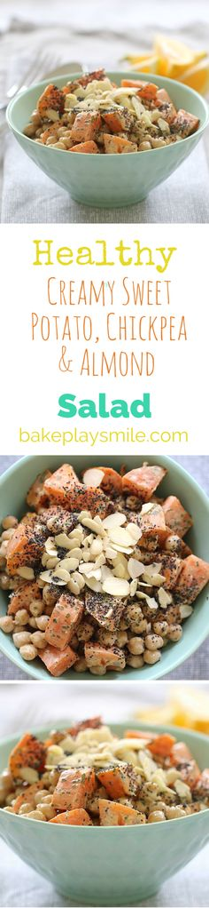 Give your health kick a boost with this deliciously Healthy Chickpea, Almond & Sweet Potato Salad with a Creamy Lemon Dressing.