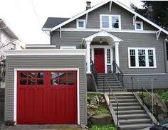 Red door, grey house, and red garage door! Red Garage Door, Red Door House, Garage Door Colors, Exterior Paint Colors For House, Paint Colors For Home, Garage House, Red Front Doors, House Doors, Paint Colours