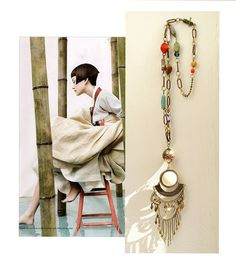 Charis Ceramic Beaded Rustic Chain and by InspiraMetroJewelry, $59.00