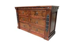 Handcrafted from solid alder wood and distressed to give it a more rustic look! Dresser shown with dark walnut stain and red glaze! Western Furniture, Rustic Furniture, Bedroom Furniture, Mountain Style, Dark Walnut Stain, 6 Drawer Dresser, Glaze, Westerns, Elegant