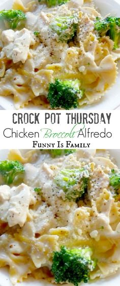 This Crockpot Chicken Broccoli Alfredo looks beautiful, and is surprisingly easy to throw together. If you like easy crockpot chicken recipes the whole family will like, look no further! Crock Pot Chicken Broccoli Alfredo Jackie Ross D Crockpot Dishes, Crock Pot Slow Cooker, Crock Pot Cooking, Slow Cooker Chicken, Slow Cooker Recipes, Cooking Recipes, Cooking Bacon, Crockpot Recipes Pasta, Healthy Recipes