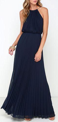 Bariano Melissa Navy Blue Maxi Dress