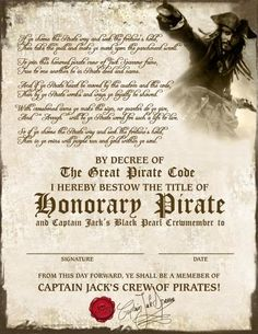 - View all images at Drivers Licenses & Certificates folder Pirate Art, Pirate Life, Pirate Theme, Pirate Decor, Pirate Ships, Cruise Vacation, Disney Vacations, Disney Trips, Vacation Ideas