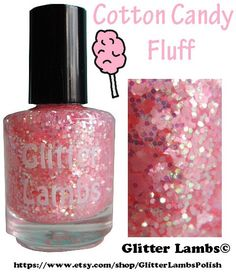 Cotton Candy: Pink Glitter Nail Polish -Glitter Topper Nail Polish Lacquer- Indie Nail Polish Custom Handmade
