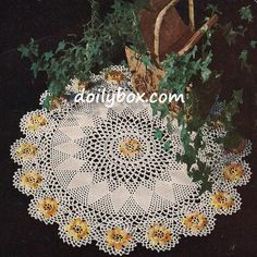 Vintage Crochet PATTERN to make - Ivy Irish Rose Doily. This is a pattern and/or instructions to make the item only. - I Crochet World Thread Crochet, Filet Crochet, Crochet Crafts, Crochet Yarn, Crochet Projects, Irish Crochet, Crochet Stitches, Vintage Crochet Patterns, Crochet Flower Patterns