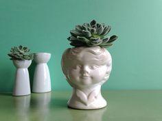 Vintage Vasen - ☘ Vintage Bubikopf Übertopf Kopf 60er - ein Designerstück von…